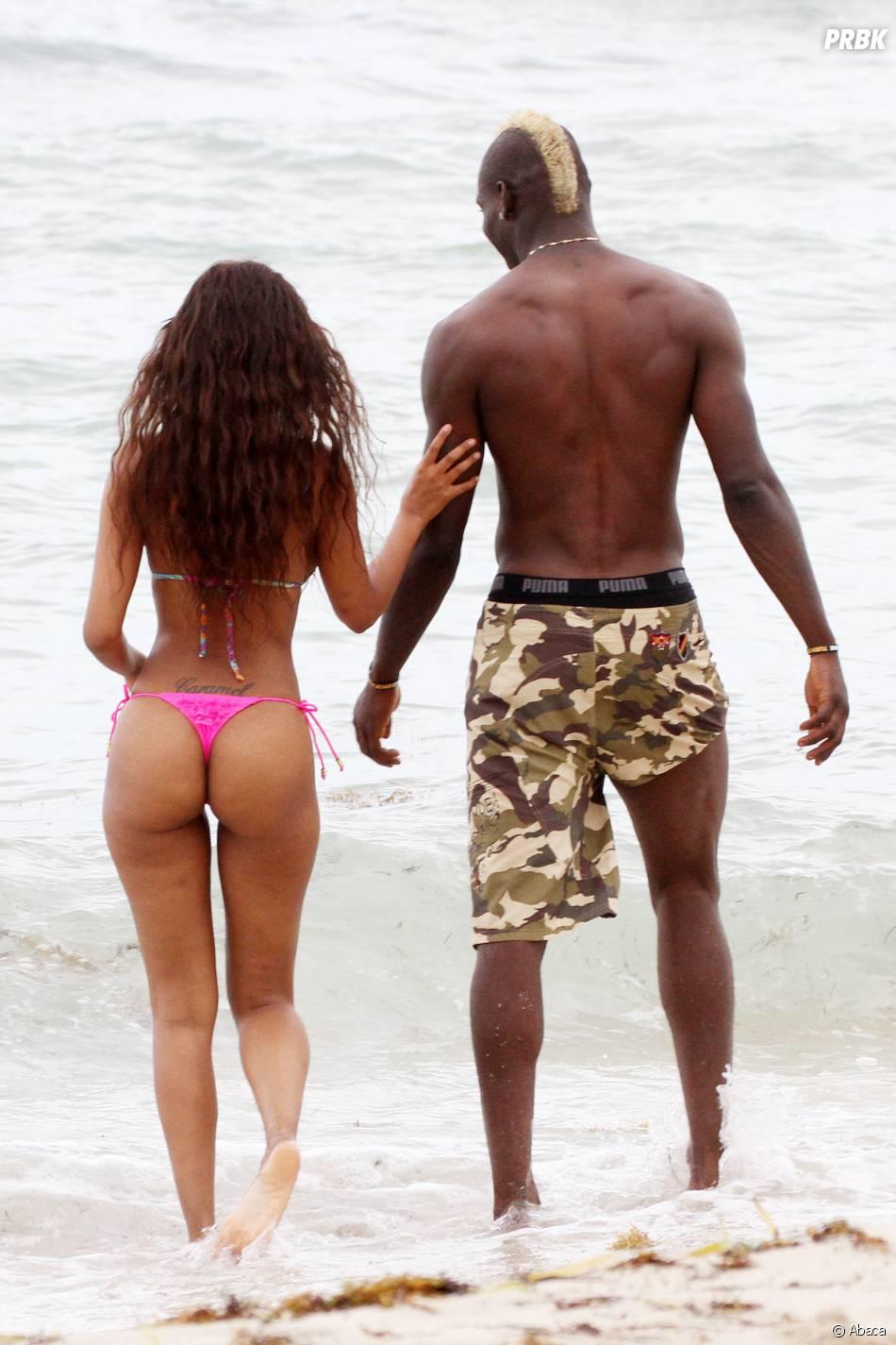 Mario Balotelli et son ex Fanny Neguesha en vacances à Miami, le 6 juillet 2014