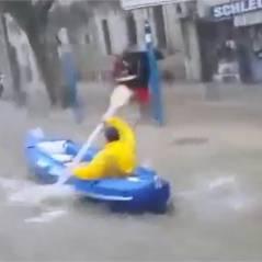 Inondations à Montpellier : il se déplace en kayak... en pleine rue !