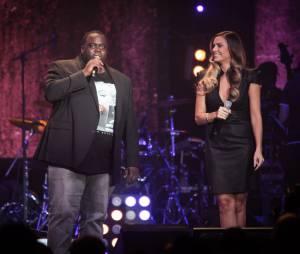 Issa Doumbia et Clara Morgane aux Trace Urban Music Awards 2014, le 22 octobre au Casino de Paris