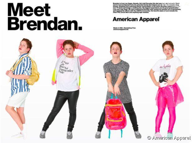 Brendan Jordan alias Diva Kid, nouveau mannequin pour American Apparel