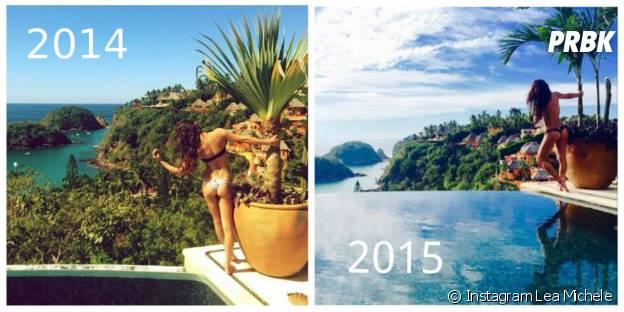 Lea Michele sexy au Mexique en 2014 (gauche) et 2015 (droite)