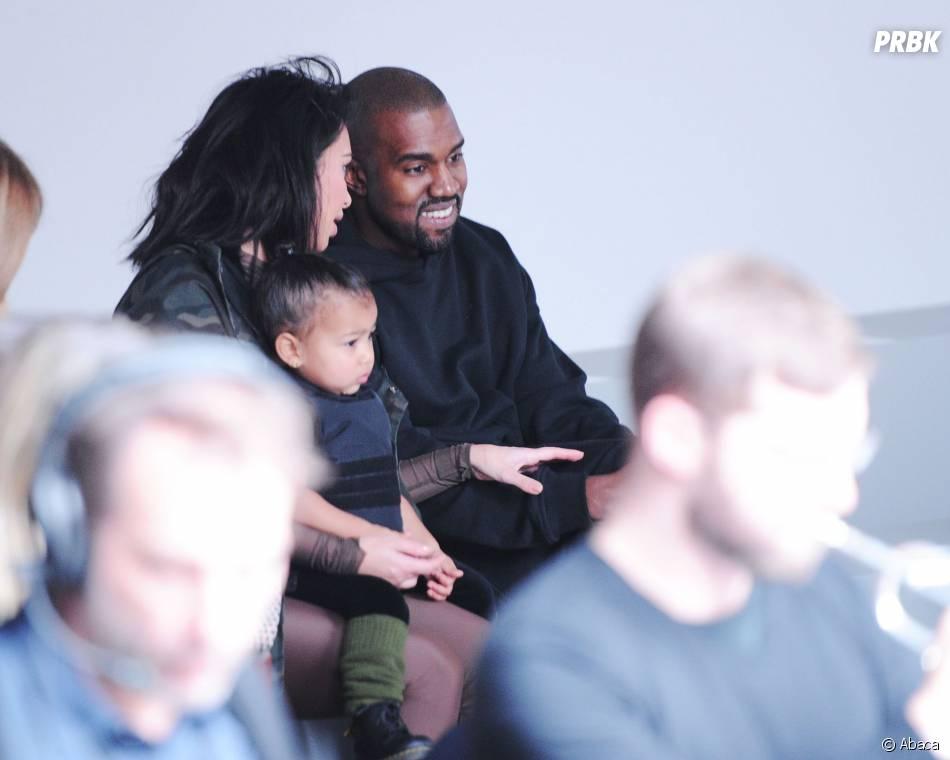 Kim Kardashian, North et Kanye West au défilé Adidas x Kanye West, le 12 février 2015 à New York