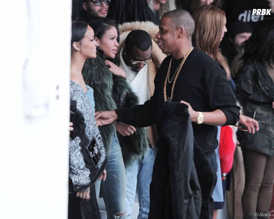 Jay Z et Rihanna au défilé Adidas x Kanye West, le 12 février 2015 à New York