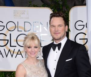 Chris Pratt et sa femme Anna Faris lors des Golden Globes 2015
