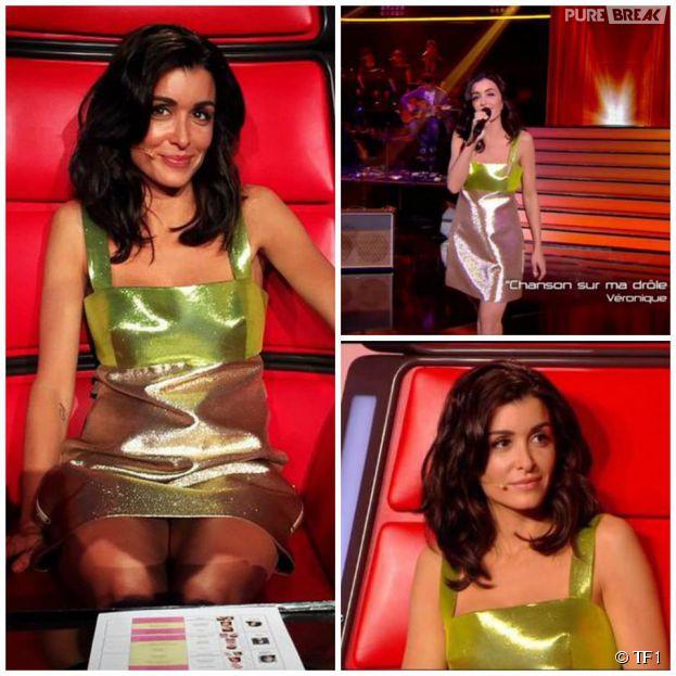 Jenifer : look sexy et robe à paillettes pour la demi-finale de The Voice 4 sur TF1, le 18 avril 2015