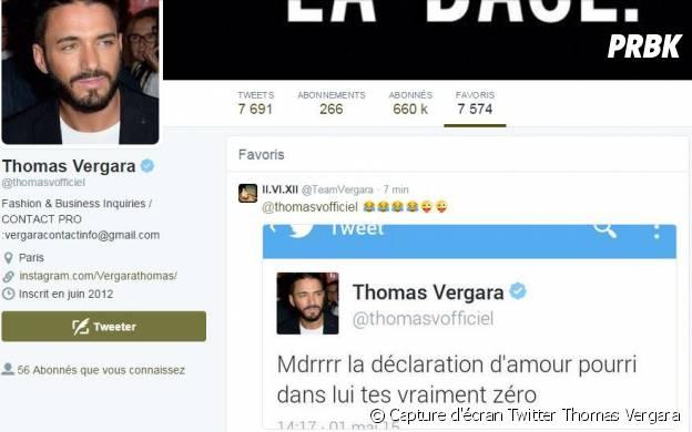 Thomas Vergara a dans ses favoris une capture de son message clash contre Nabilla Benattia