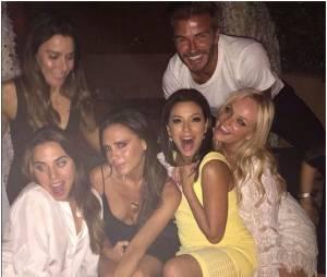 David Beckham fête ses 40 ans avec Victoria Beckham, Mel C, Eva Longia et Emma Bunton, le 2 mai 2015 au Maroc