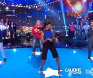 Shy'm danse aiux côtés de Florent Peyre, Arnaud Tsamère et Valérie Damidot, le 11 juillet 2015 dans CSTEP