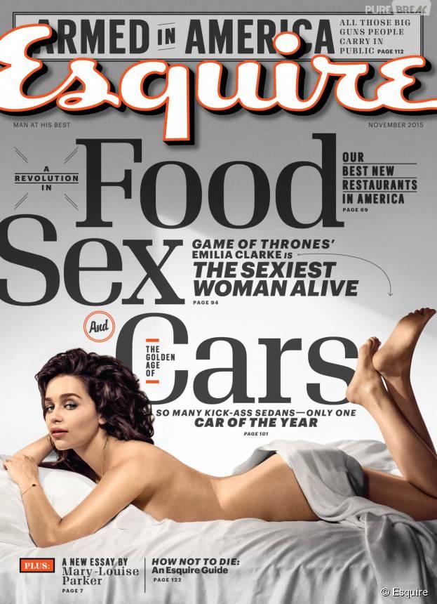 Emilia Clarke nue en Une du magazine Esquire en octobre 2015
