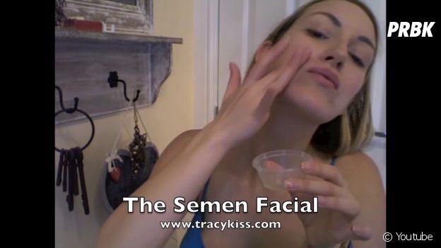 3e étape du tuto beauté au sperme de Tracy Kiss