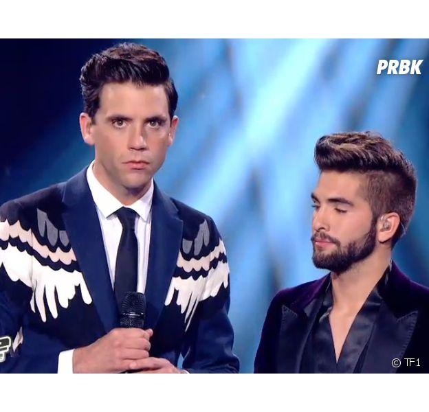 The Voice 3 : Mika et Kendji Girac lors de la finale, le samedi 10 mai 2014 sur TF1
