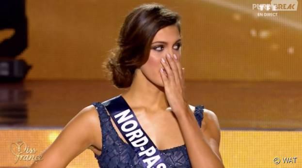Iris Mittenaere pendant le concours Miss France 2016, le 19 décembre 2015 sur TF1