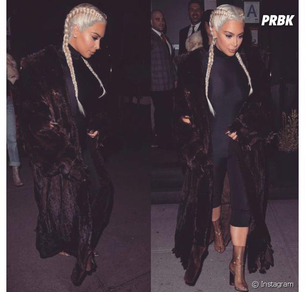 Kim Kardashian addict à la coiffure nattes collées, février 2016