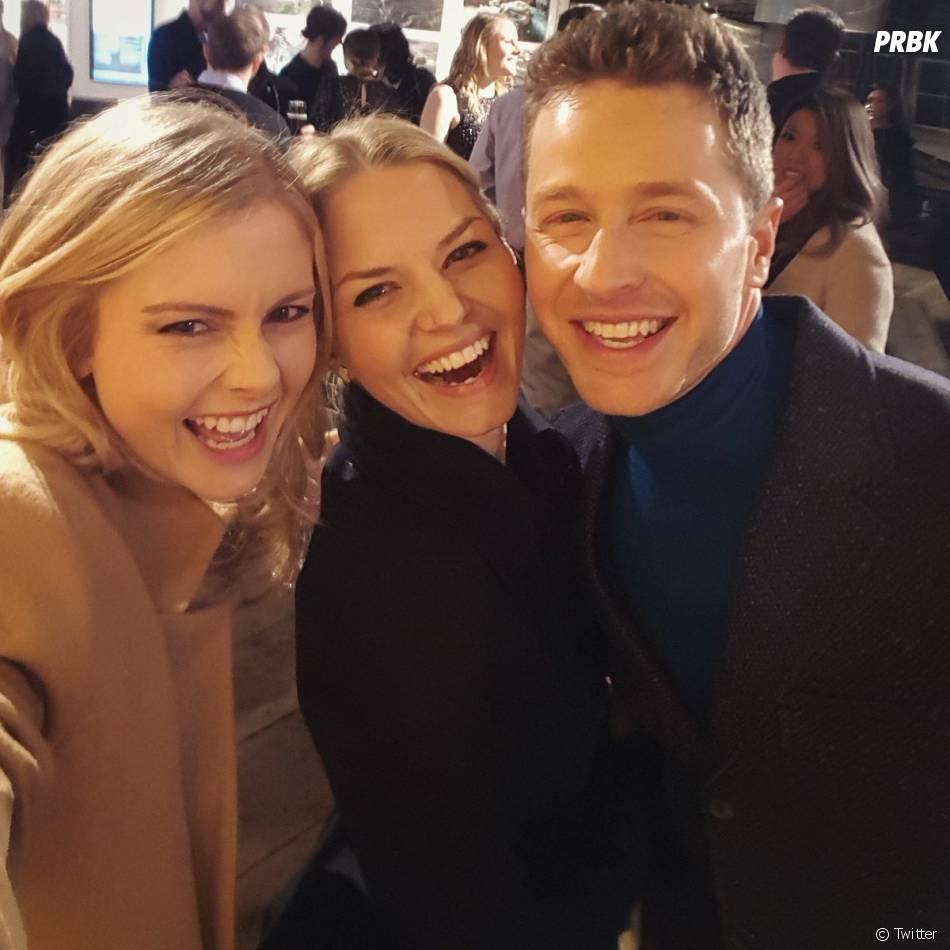 Once Upon a Time saison 5 : Rose McIver, Jennifer Morrison et Josh Dallas à la soirée pour le 100ème épisode le 21 février 2016