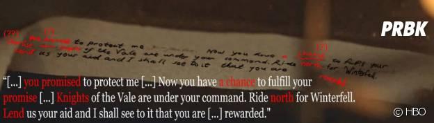 Game of Thrones saison 6 : la mystérieuse lettre de Sansa décryptée