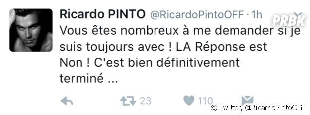 Ricardo Pinto annonce sa rupture avec Nehuda sur Twitter
