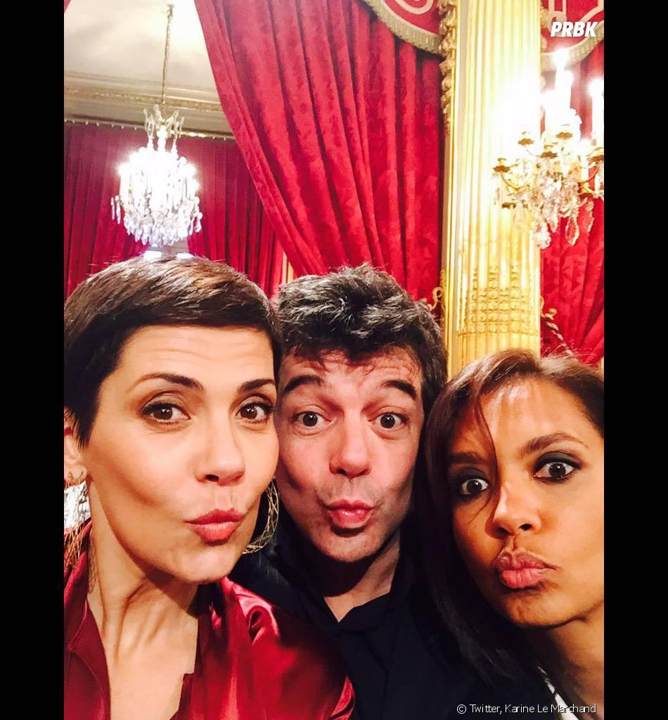 Cristina Cordula, Karine Le Marchand et Stéphane Plaza à l'Elysée, le 11 mars 2015
