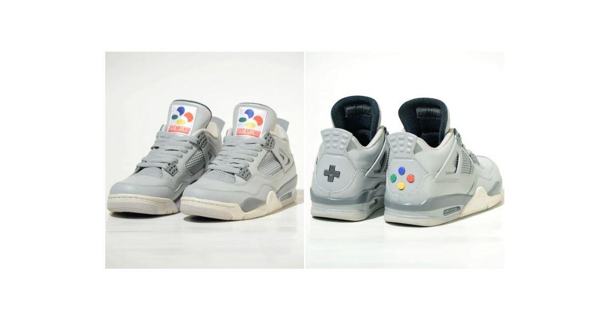 competitive price cd874 223f5 Air Jordan 4 Super Nintendo   les sneakers ultimes avec de vrais boutons de  manette ! - Purebreak