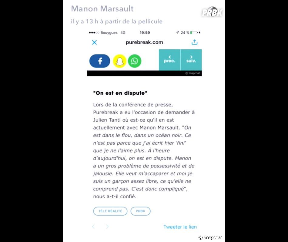 Julien Tanti (Les Marseillais South America) s'est confié à PRBK sur sa rupture avec Manon Marsault : elle pousse un coup de gueule et donne sa version.