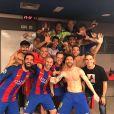 Neymar, Lionel Messi, Luis Suarez fêtent leur victoire lors du match FC Barcelon - PSG