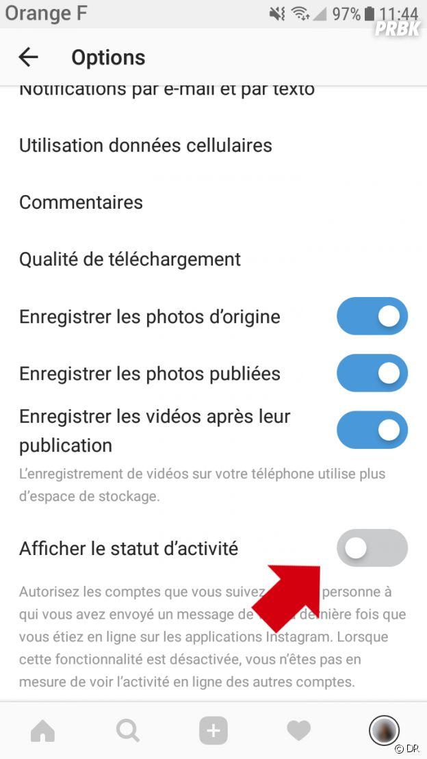 Instagram : comment désactiver l'affichage du statut d'activité