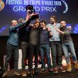 Rayane Bensetti et l'équipe de La finale récompensés à la cérémonie de clôture du Festival de l'Alpe d'Huez le 20 janvier 2018