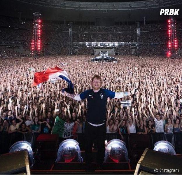 Ed Sheeran lors de son concert au Stade de France le 7 juillet 2018