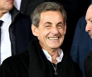 Nicolas Sarkozy dans les tribunes du match PSG-Liverpool de la Ligue des champions.