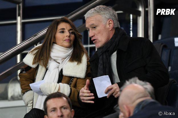 Didier Deschamps et sa femme Claude Deschamps dans les tribunes du match PSG-Liverpool de la Ligue des champions.