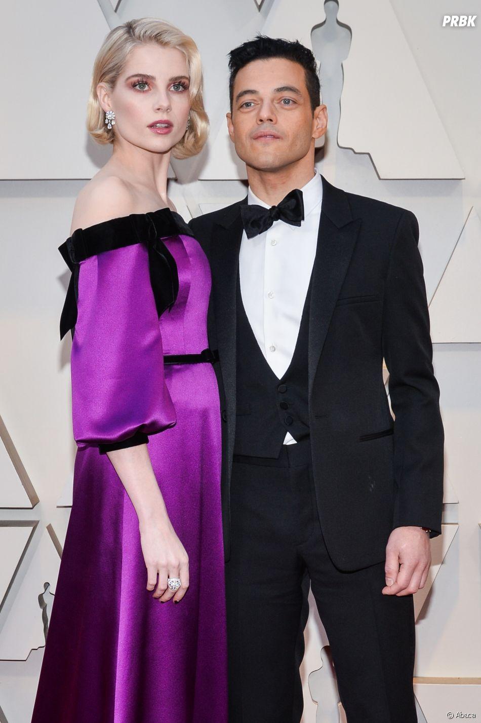 Rami Malek et Lucy Boynton sur le tapis rouge des Oscars 2019 le 24 février à Los Angeles