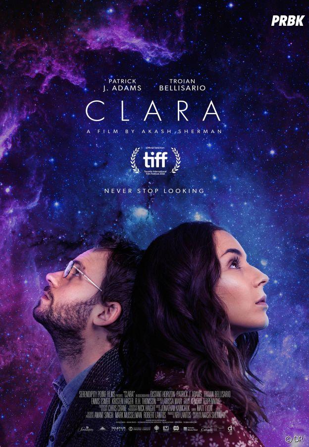 Troian Bellisario et Patrick J. Adams sur l'affiche de Clara