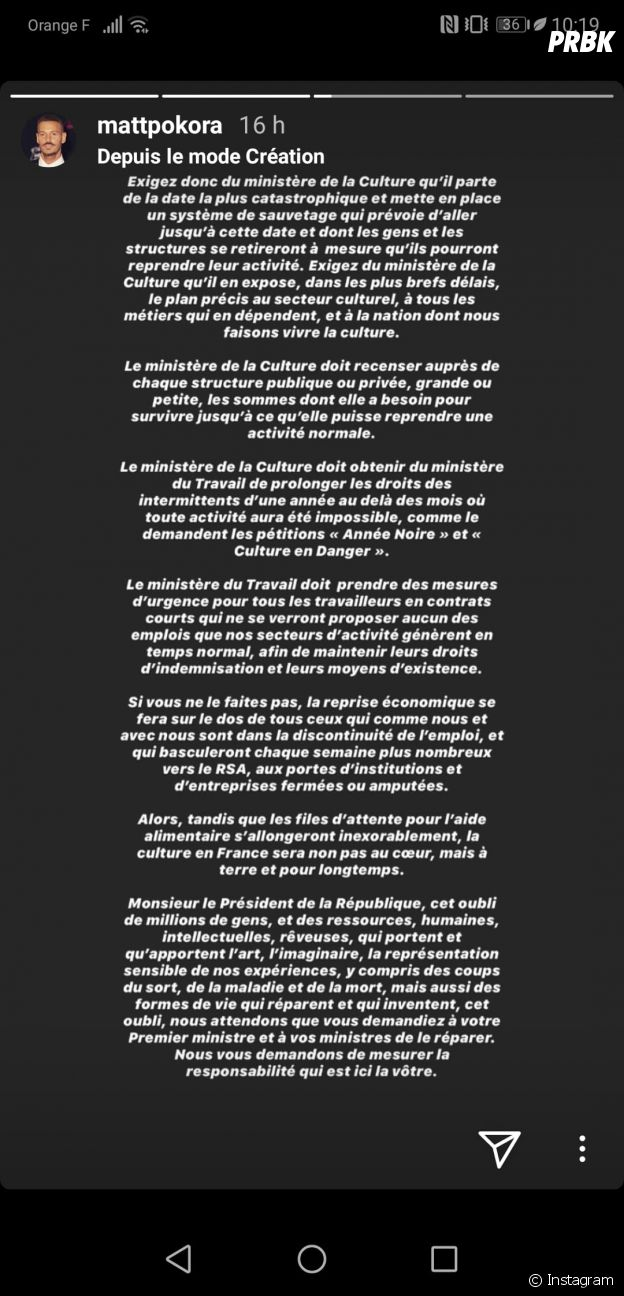 Confinement : M Pokora interpelle le gouvernement au nom de tous les artistes, Emmanuel Macron répond