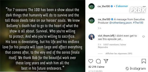 The 100 saison 7 : le compte Instagram de la série a spoilé la mort de Bellamy