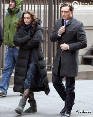 Ed Westwick et Leighton Meester sur le tournage de Gossip Girl