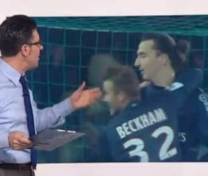 Ibra et Becks se sautent dans les bras à la fin du match OM-PSG.