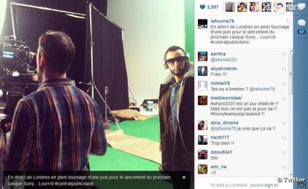 La Fouine a posté sur Twitter une photo du tournage de la pub pour le nouveau casque Sony.