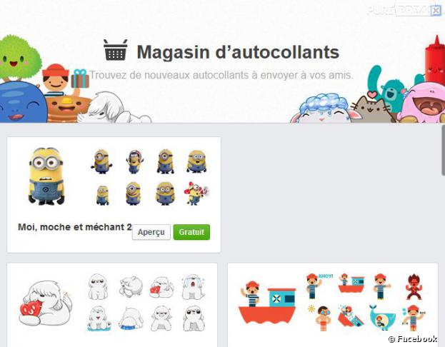 Facebook introduit son magasin d'autocollants