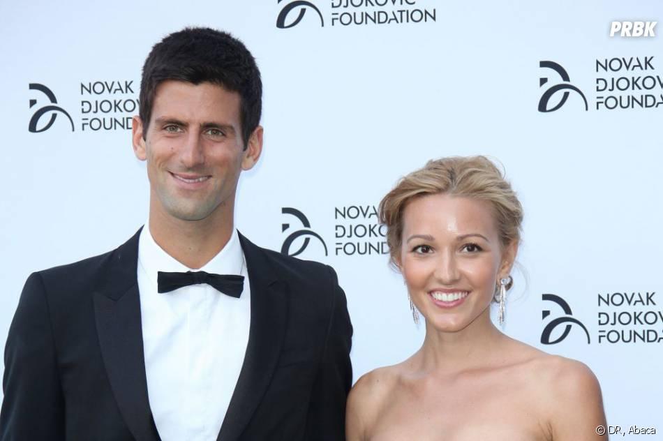 Novak Djokovic et Jelena Ristic lors du dîner de charité en faveur de sa fondation le 8 juillet 2013.