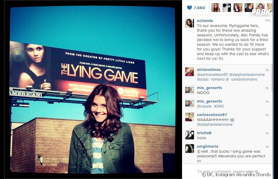 Alexandra Chando annonce l'annulation de The Lying Game sur Instagram