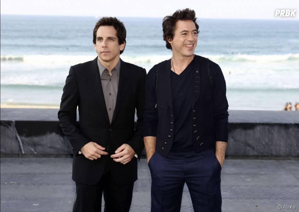 Ben Stiller et Robert Downey Jr pendant la promo de Tonnerre sous les Tropiques en 2008