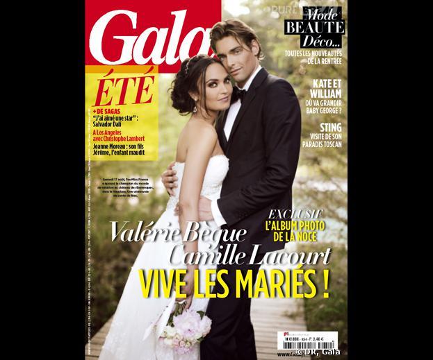 Camille Lacourt et Valérie Bègue, jeunes mariés (trop) retouchés en Une de Gala