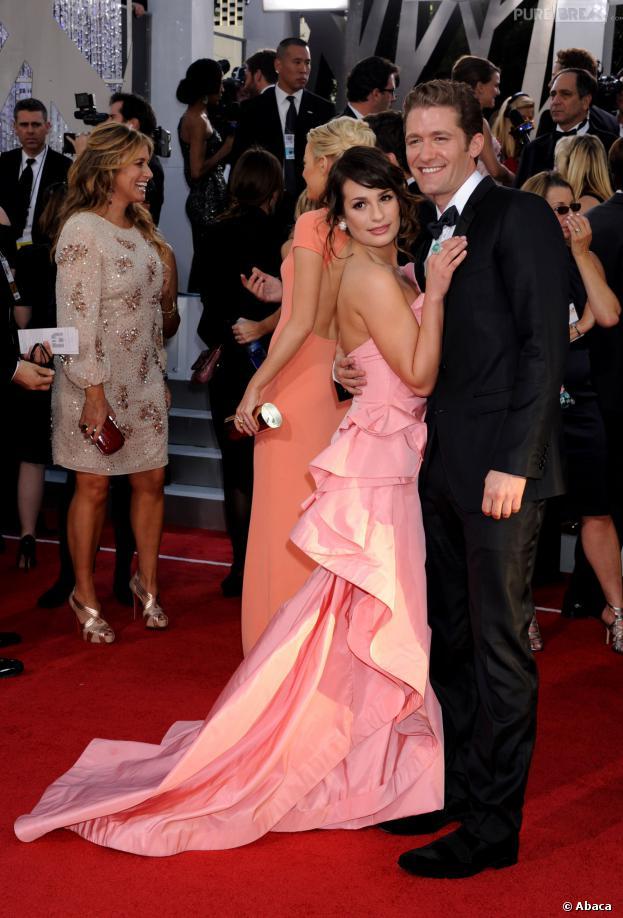 Lea Michele et Matthew Morrison prennent la pose aux Golden Globe 2011