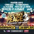 Urban Peace 3 avec IAM, Youssoupha, La Fouine, Orelsan, Sexion d'Assaut et Psy 4 de la Rime le 28 septembre 2013 au Stade de France