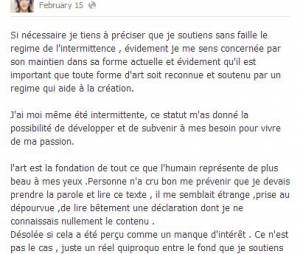 Zaz : sur Facebook, elle affirme tout son soutien aux intermittents du spectacle avec les Victoires de la musique 2014