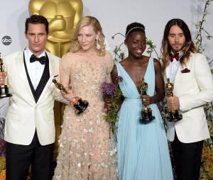 Matthew McConaughey, Cate Blanchett, Lupita Nyong'O et Jared Leto gagnants aux Oscars 2014 le 2 mars à Los Angeles