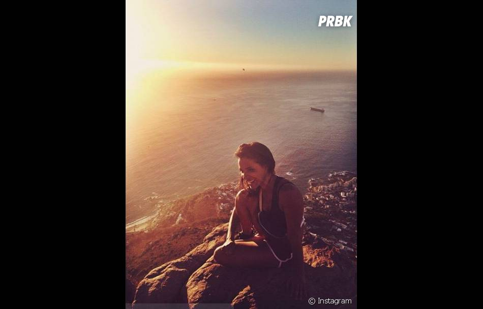 Shy'm : coucher de soleil en vacances en Afrique du Sud, en mars 2014