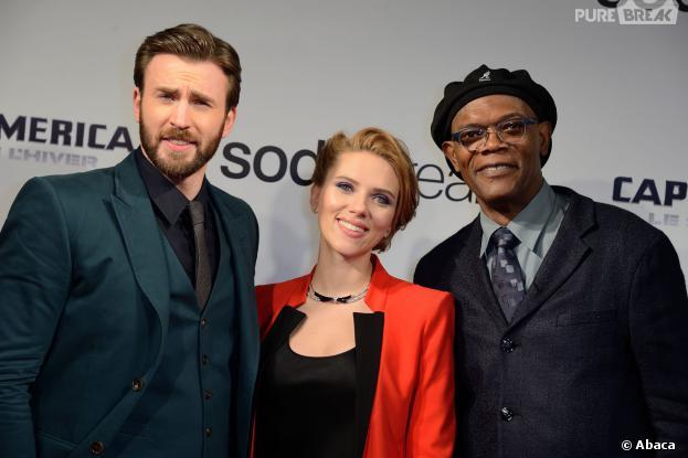 Captain America 2 : Scarlett Johansson, Chris Evans et Samuel Lee Jackson à l'avant-première à Paris le 17 mars 2014