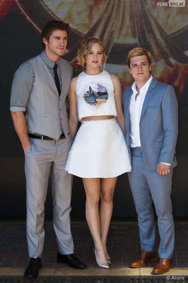 Liam Hemsworth, Jennifer Lawrence et Josh Hutcherson au photocall d'Hunger Games 3 au Festival de Cannes 2014, le 17 mai