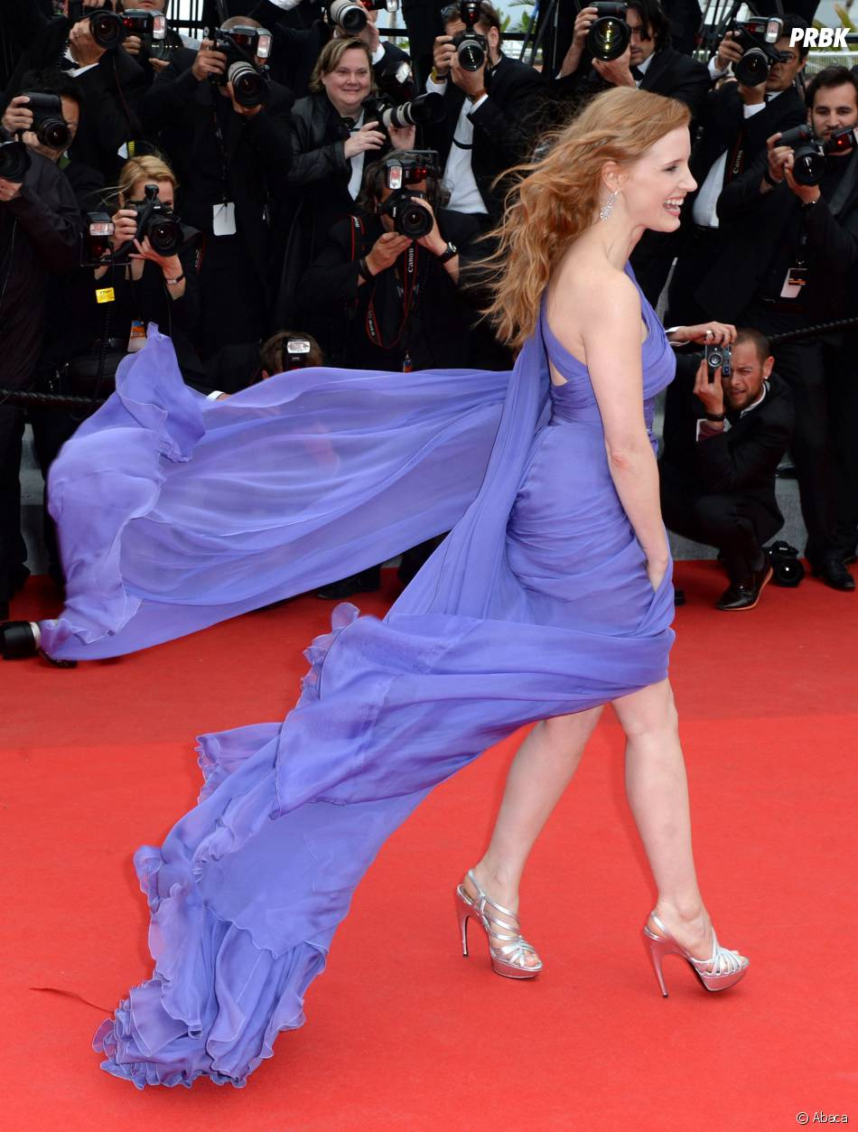 Jessica Chastain et sa robe qui s'envole, le 19 mai 2014 au festival de Cannes