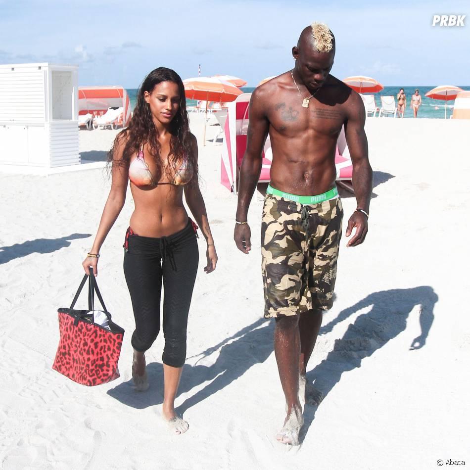 Mario Balotelli et Fanny Neguesha en vacances à Miami, le 11 juillet 2014